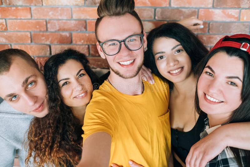 Group self portrait diverse team friends together stock photo