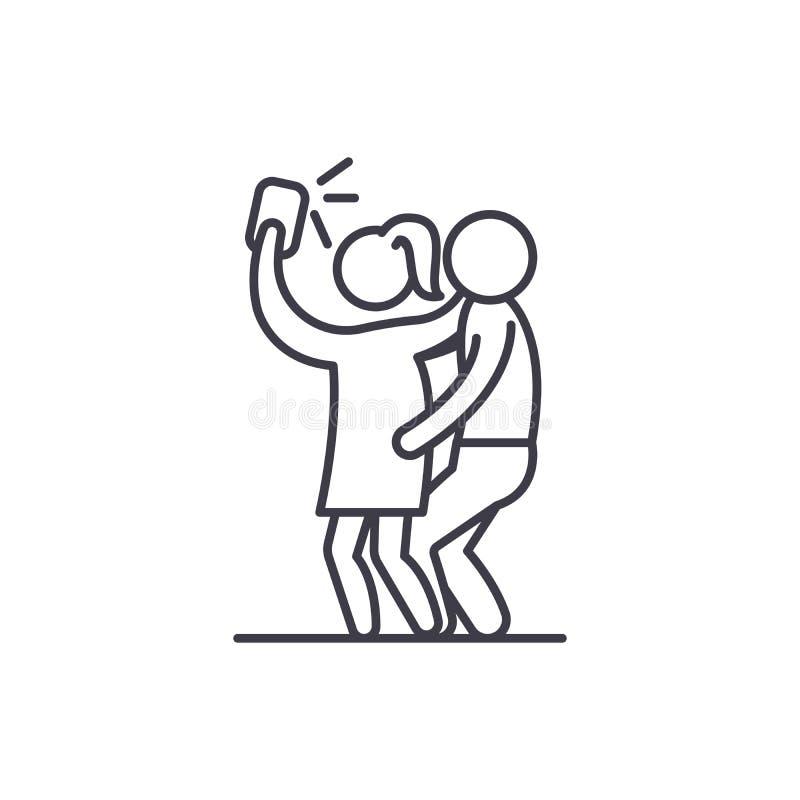 Group selfie line icon concept. Group selfie vector linear illustration, symbol, sign vector illustration