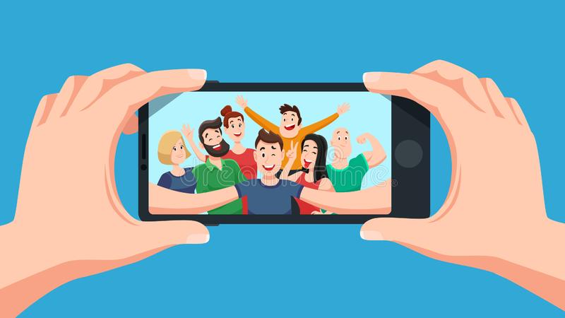 Group selfie on smartphone. Photo portrait of friendly youth team, friends make photos on phone camera cartoon vector stock illustration