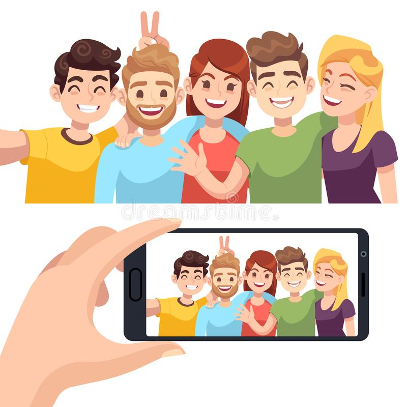 Group selfie on smartphone. Young happy people take selfie portrait, friendly smiling characters make photos on phone stock illustration