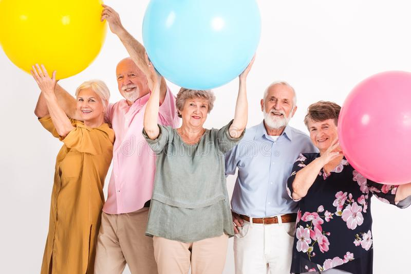 Senior friends party royalty free stock images
