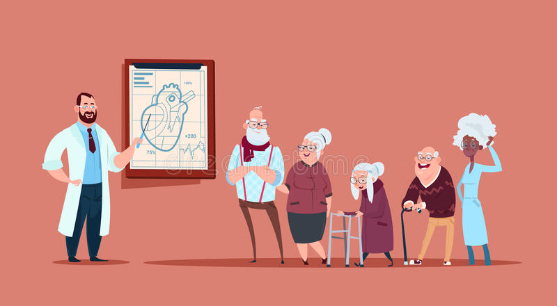 Group Of Senior People On Consultation With Doctor, Pensioners In Hospital Health Care Concept stock illustration