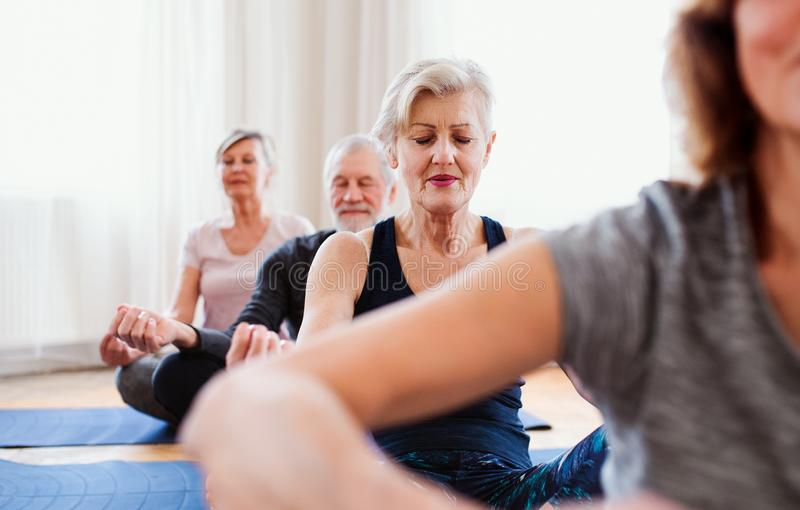Group of senior people doing yoga exercise in community center club. royalty free stock photos
