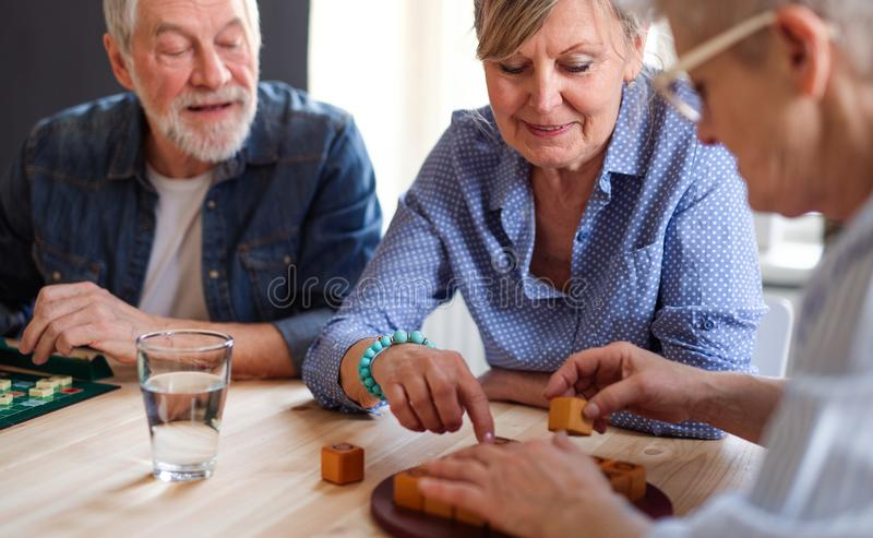 Group of senior people playing board games in community center club. royalty free stock image