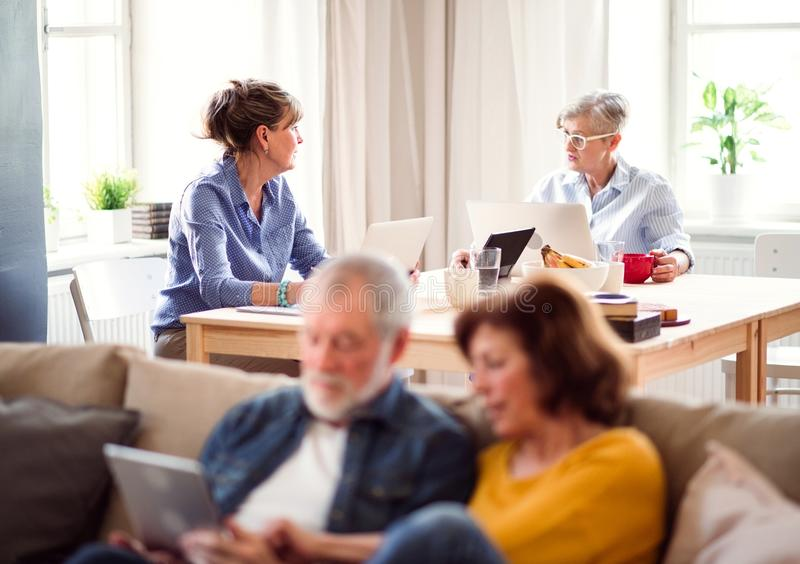 Group of senior people using laptops and tablets in community center club. royalty free stock image