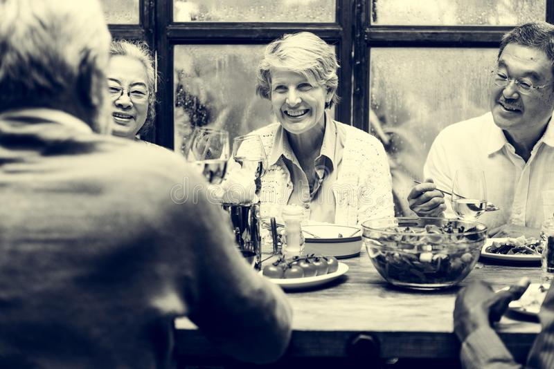 Group of Senior Retirement Meet up Happiness Concept royalty free stock photography