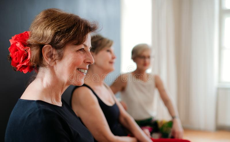 Group of senior women attending dancing class, resting. stock photography