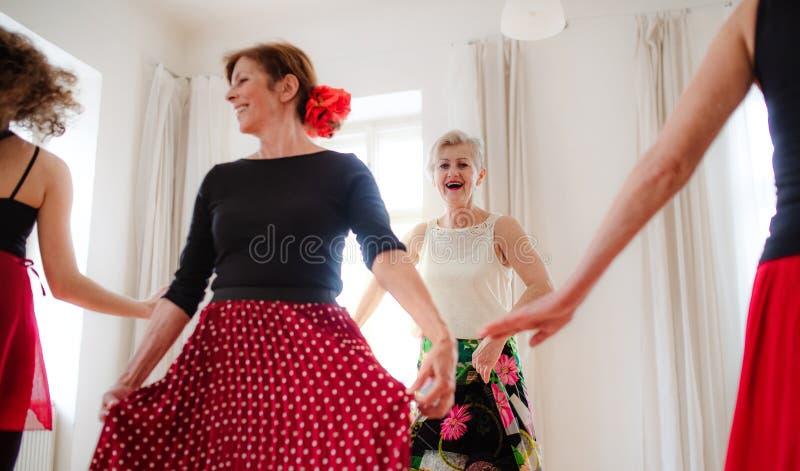 Group of senior women in dancing class with dance teacher. stock image