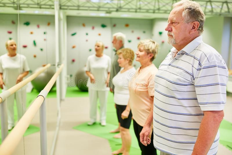 Group of seniors at ballet bar in front of a mirror. Group of seniors at a ballet bar in front of a mirror in physiotherapy and rehab royalty free stock image
