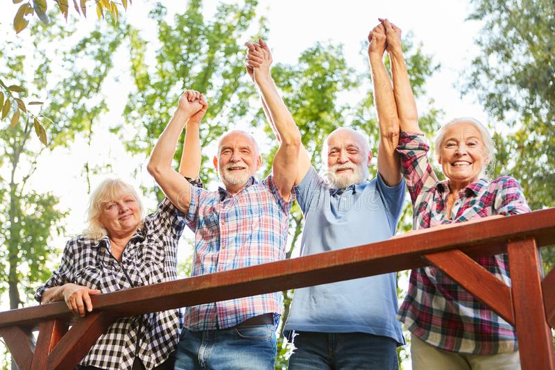 Group of seniors cheers in summer vacation. Group of seniors cheers together on a summer vacation excursion royalty free stock photos