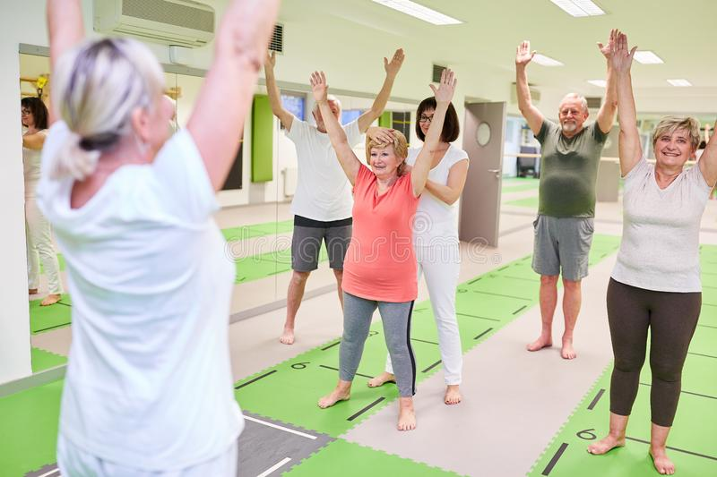 Group of seniors doing back exercises in physiotherapy. Under the guidance of rehabilitation trainers royalty free stock photos