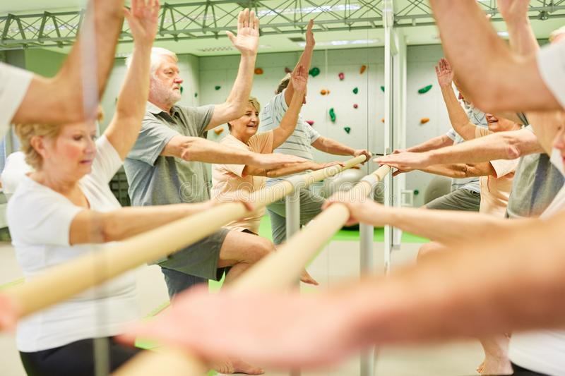 Group of seniors exercises coordination at ballet bar. Group of seniors exercises coordination on a ballet bar in front of the mirror as a rehab exercise royalty free stock photos