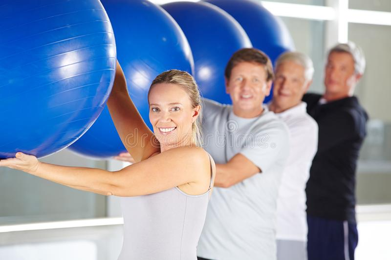 Group of seniors doing fitness training in the rehabilitation center royalty free stock photos