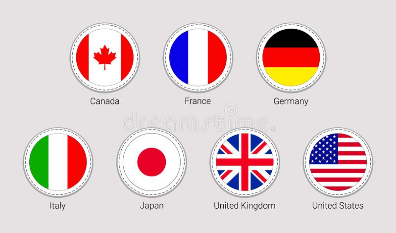 The Group of Seven flags stickers. Round icons. G7 flag with members countries names. Vector Canada, France, Germany stock illustration