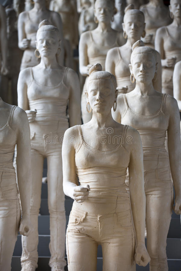 Group Of Plastered Women Sculptures In A Museum In Shanghai Stock Photos