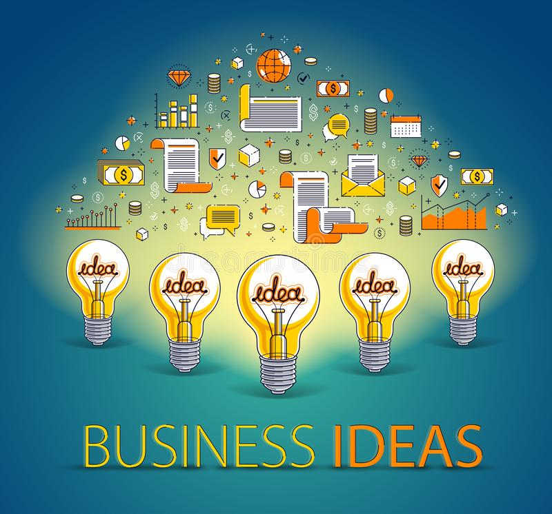 Group of shining light bulbs and set of icons, business ideas creative concept, teamwork, business team. Group of shining light bulbs and set of icons, business stock illustration