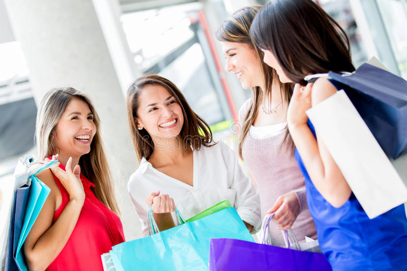 Download Group of shopping friends stock photo. Image of center - 28773036