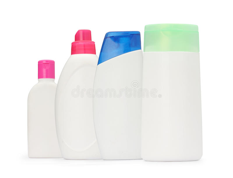 The group shot packaging bottle shampoo and soap liquid isolated. On white background stock images