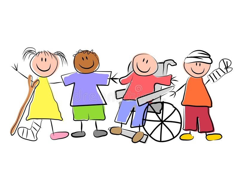 Group of Sick Kids Pediatrics. A clip art illustration featuring a group of kids standing and smiling as friends despite being ill with various conditions. Hand