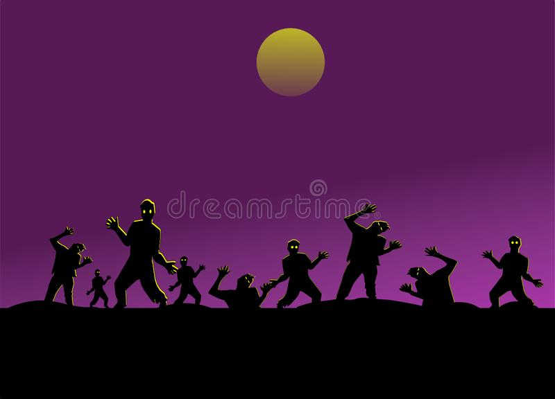 Group of silhouette zombies have moon and purple sky background, stock illustration