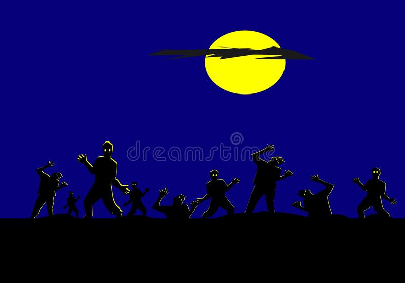 Group of silhouette zombies have moon and blue sky background stock illustration