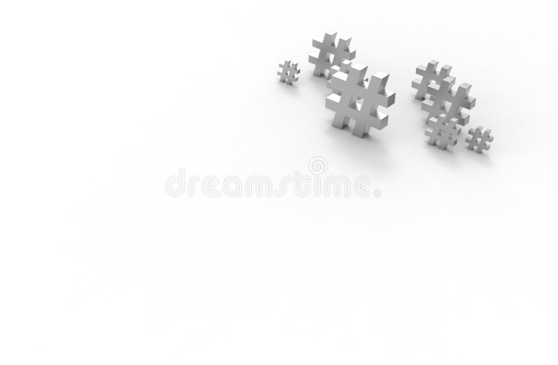 Group of silver hashtag icon isolated on white background.3D Illustration.  stock illustration