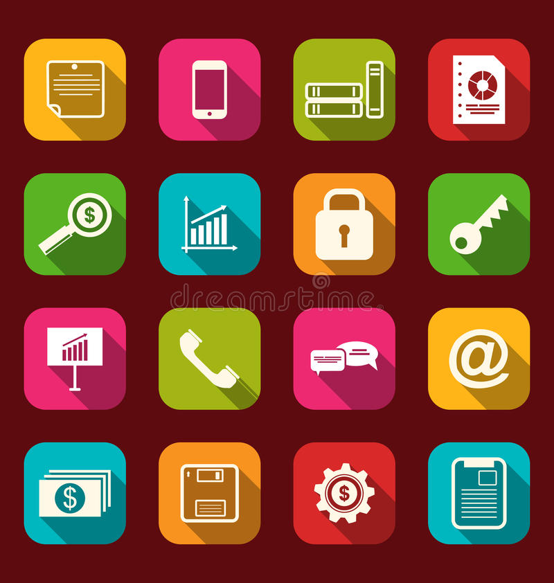 Group simple flat icons of business and financial items, with lo stock illustration