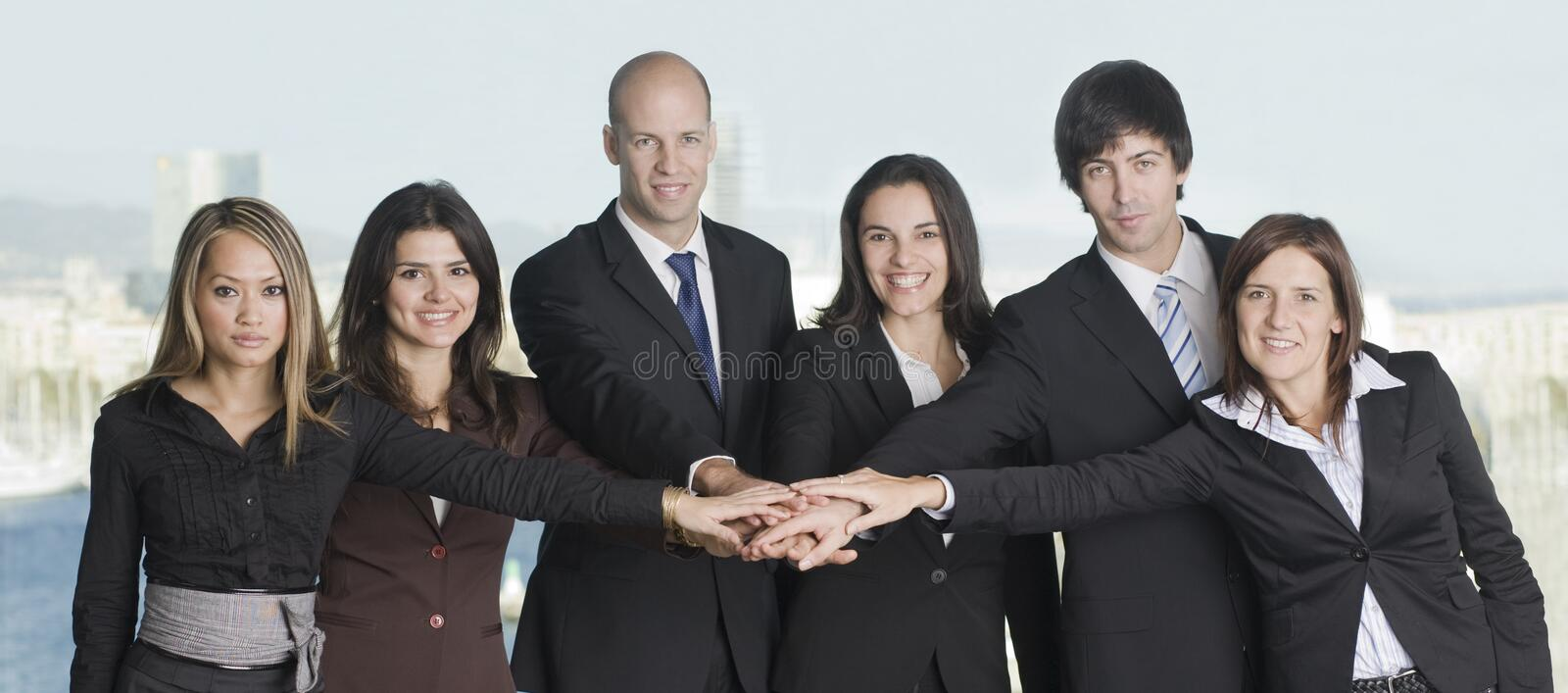 Group of six businesspeople royalty free stock photos
