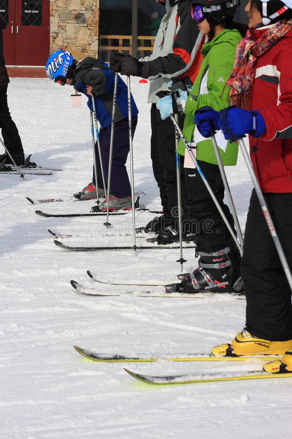 Ski Lesson. A group of people learning skiing at snowsports school of Seven Springs Resort, PA stock photography