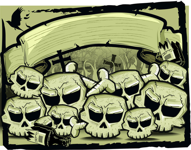 Group Of Skull In Sepia Royalty Free Stock Images