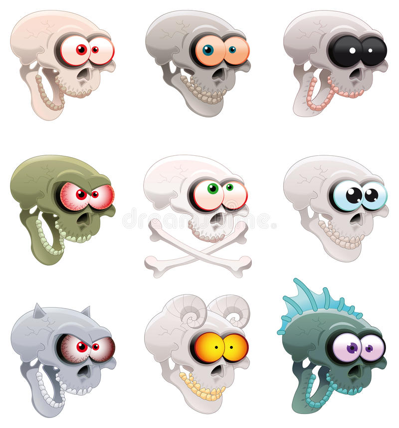 Group of skulls. Cartoon and vector characters