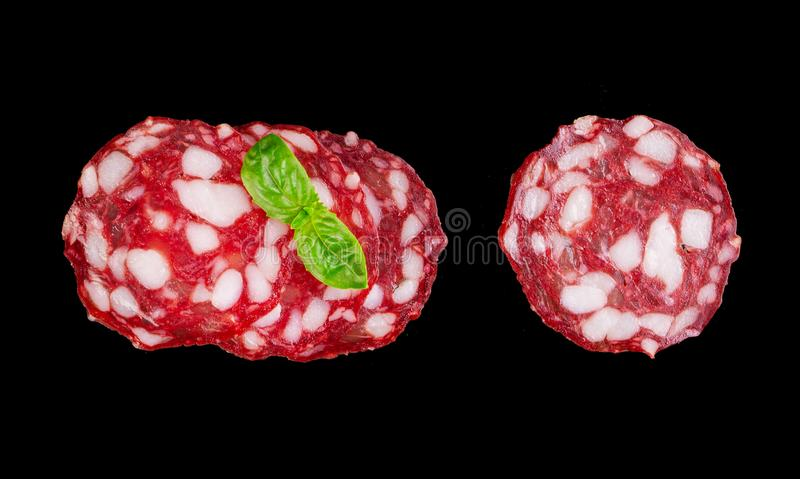 A group of slices of smoked salami royalty free stock photography