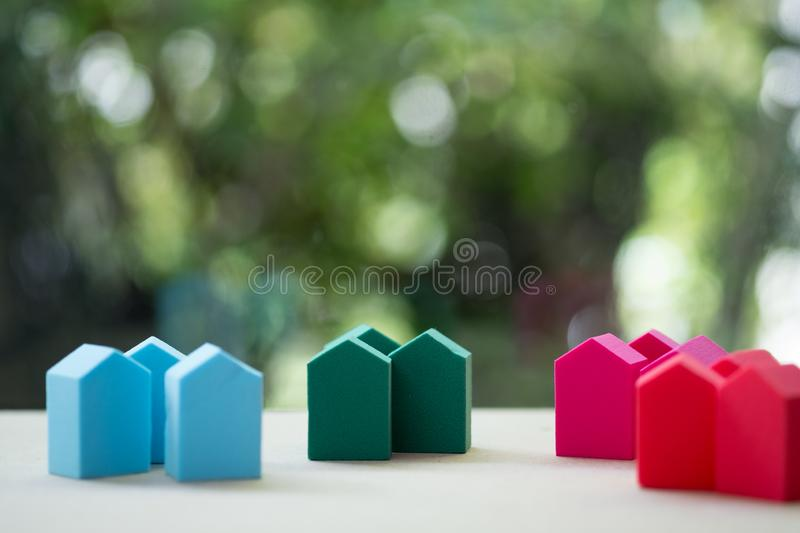 Group of small of colorful home for concept of choice to business investment for real estate stock image