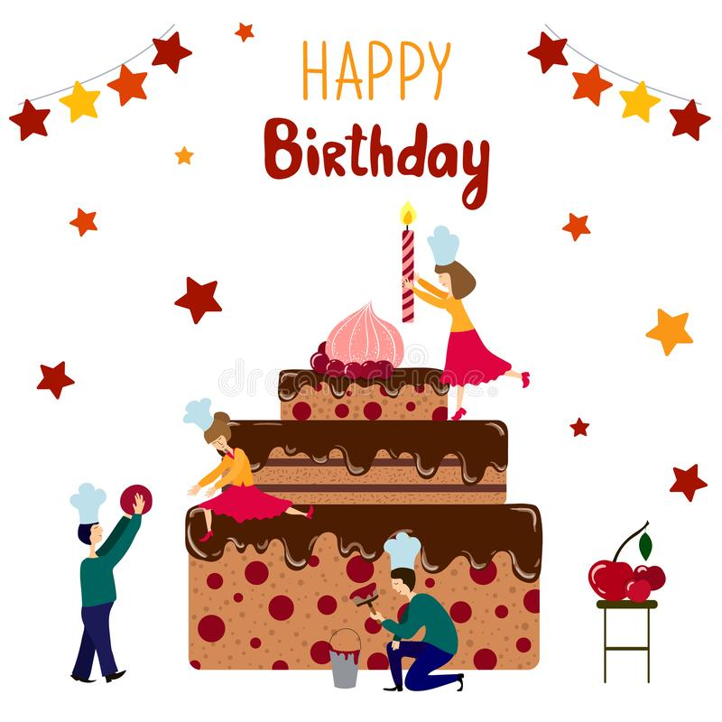 Vector Birthday Cake. Group of small people - men and women - are cooking and decorating giant birthday cake, vector illustration, teamwork concept for party royalty free illustration