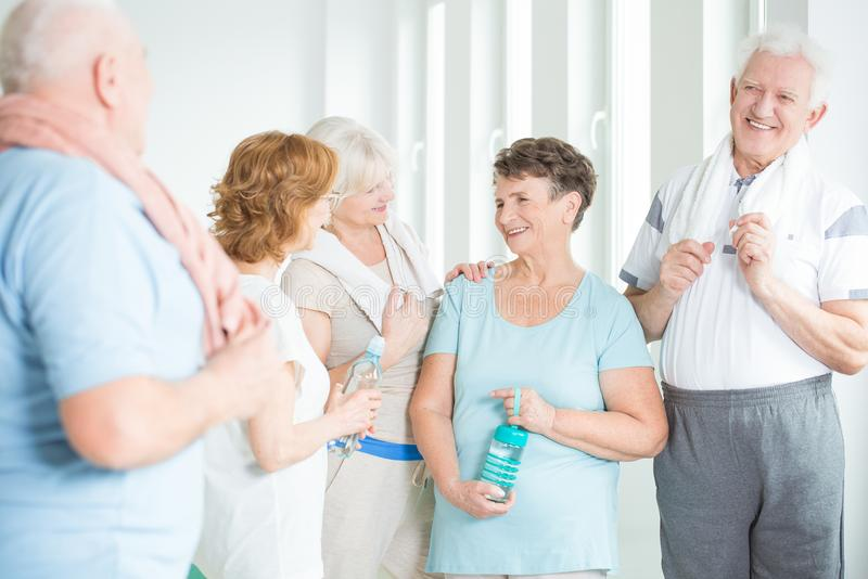 Group of active senior people stock images