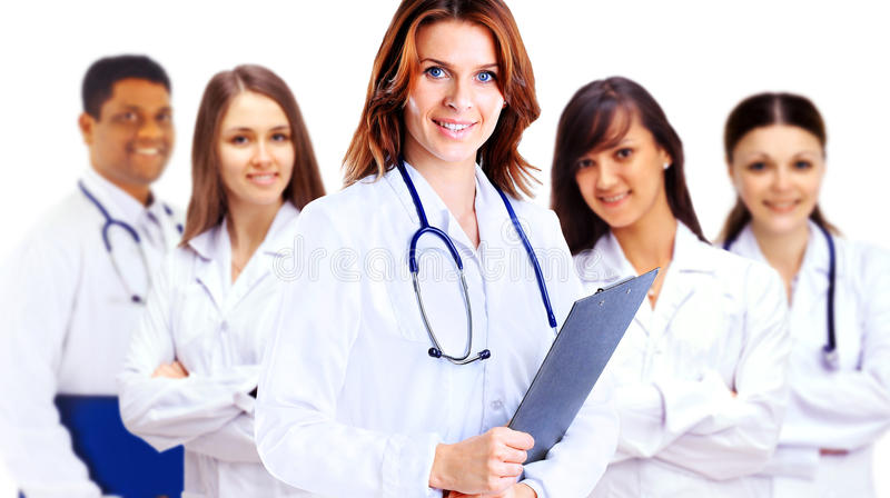 Group of smiling hospital colleagues royalty free stock photos