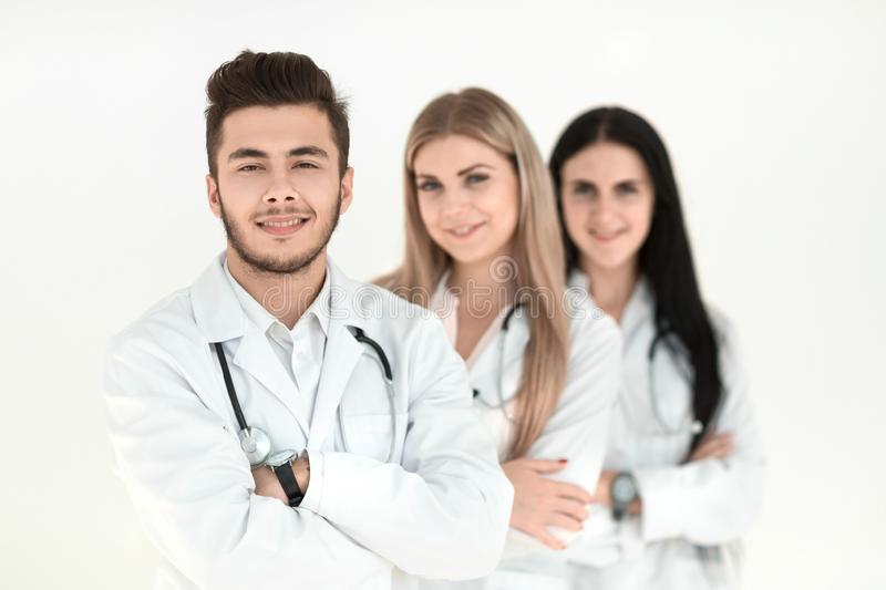 Group of smiling hospital colleagues standing together stock photo