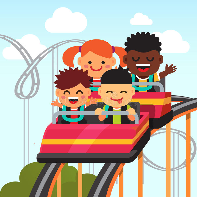 Group of smiling kids riding roller coaster. Group of excited, smiling and screaming kids riding roller coaster. Flat style vector cartoon illustration stock illustration