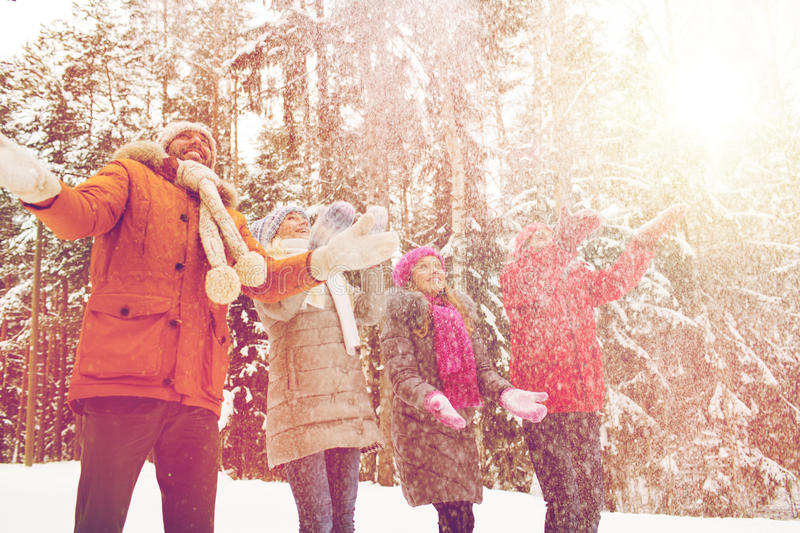 Group of smiling men and women in winter forest. Christmas, season, friendship and people concept - group of smiling men and women having fun and playing with royalty free stock image