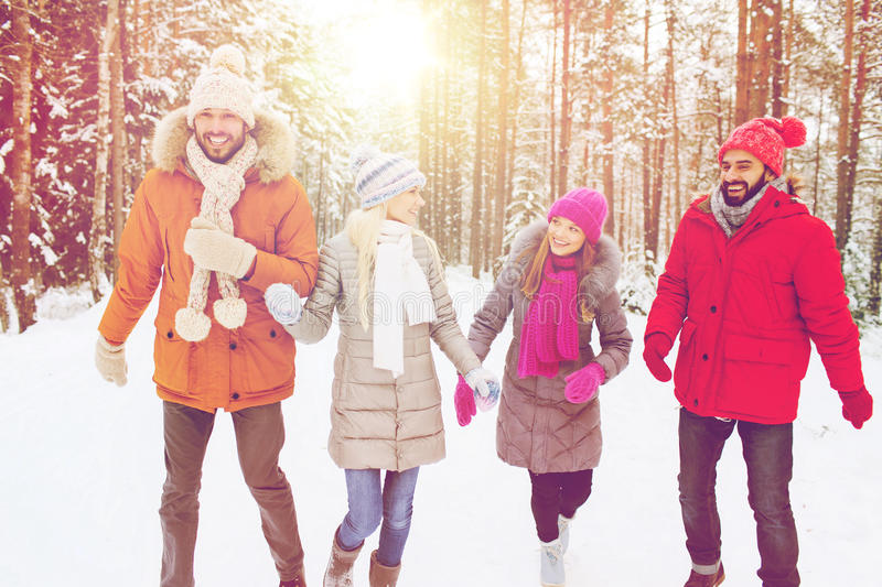 Group of smiling men and women in winter forest. Love, relationship, season, friendship and people concept - group of smiling men and women walking ad having fun royalty free stock images