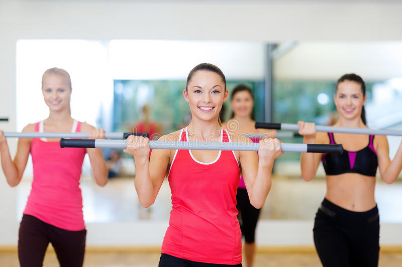 Download Group Of Smiling People Working Out With Barbells Stock Image - Image: 35509795