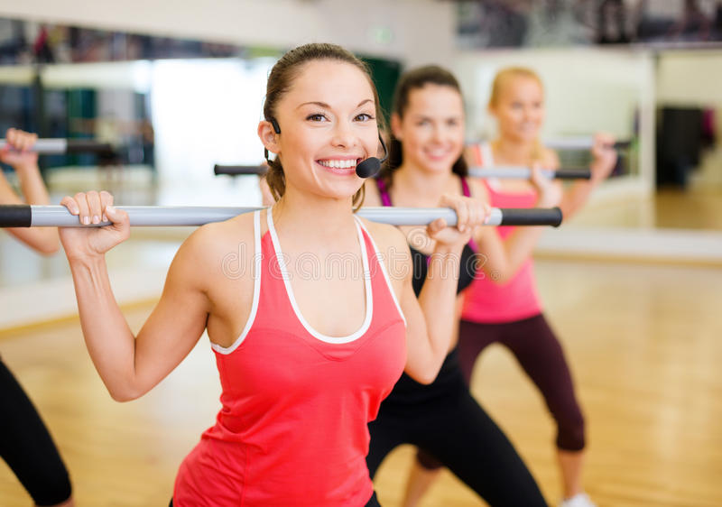 Download Group Of Smiling People Working Out With Barbells Stock Photo - Image: 35402974