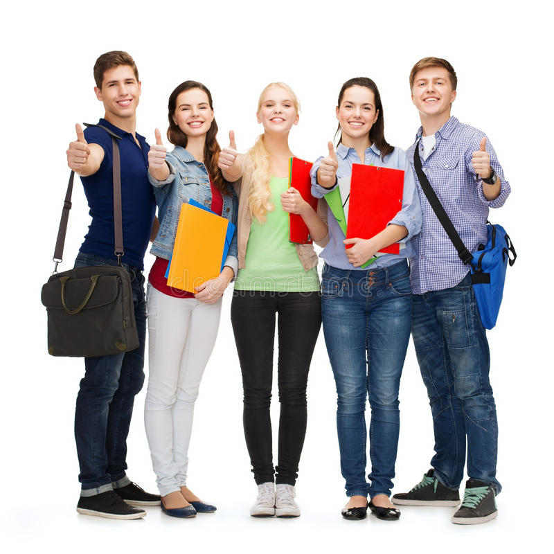 Download Group Of Smiling Students Showing Thumbs Up Stock Photo - Image: 35320446