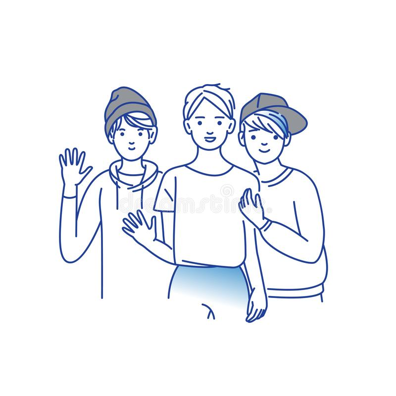 Group of smiling teenage boys, friends standing together, embracing each other, waving hands. Happy students isolated on royalty free illustration