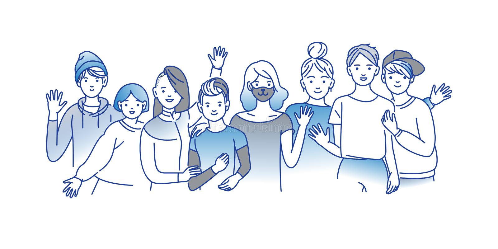 Group of smiling teenage boys and girls standing together, embracing each other, waving hands. Happy students isolated royalty free illustration
