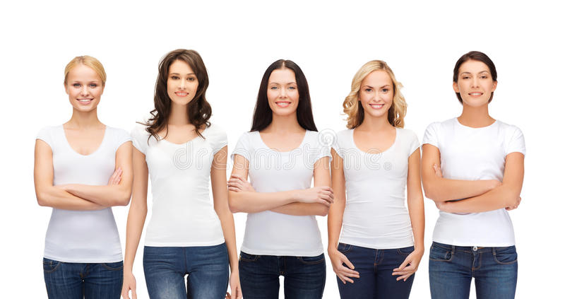 Group of smiling women in blank white t-shirts stock photography