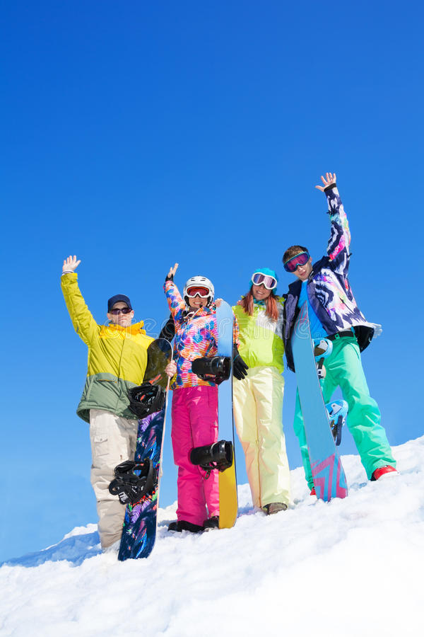 Download Group of snowboard friends stock photo. Image of handsome - 31664642