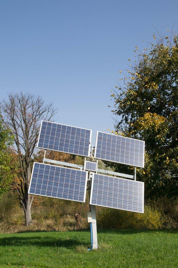 Solar panel and blue sky stock photos