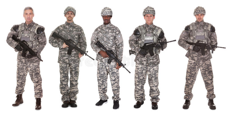 Group of soldier with rifle stock images