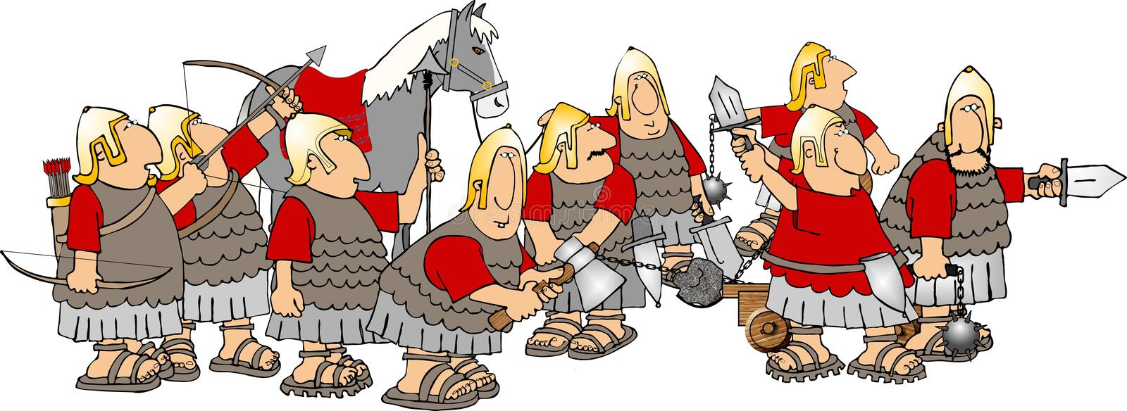 Group of soldiers stock illustration